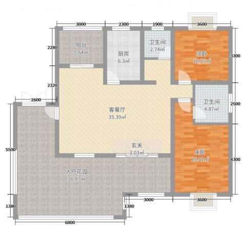 乐仙小镇2室2厅2卫1厨117.50㎡户型图