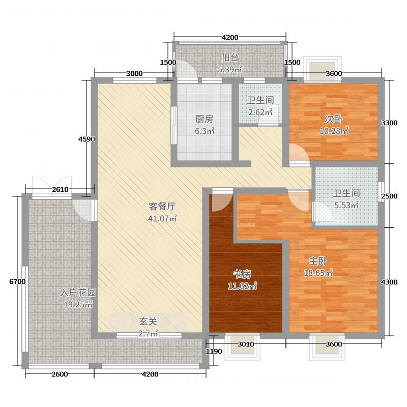 乐仙小镇138.00㎡C2【洋房】29栋户型3室3厅2卫1厨