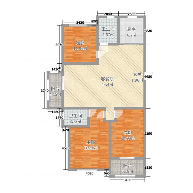 香山甲第143.00㎡户型3室3厅2卫1厨