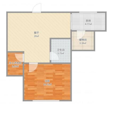 锦泉南园8-601011室1厅1卫1厨61.00㎡户型图