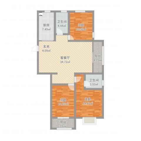 中达・名门世家3室2厅2卫1厨121.00㎡户型图