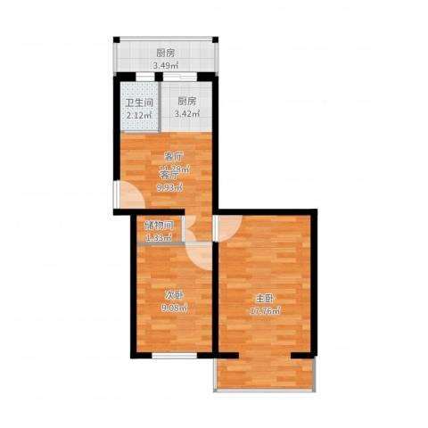 知春路82号院2室1厅1卫1厨57.00㎡户型图