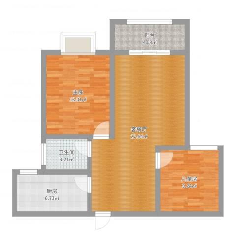 印象欧洲2室2厅1卫1厨81.00㎡户型图