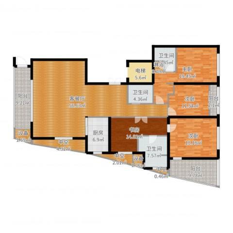 新地中心4室2厅3卫1厨217.00㎡户型图