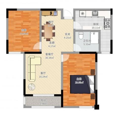 嘉乐城2室2厅1卫1厨104.00㎡户型图