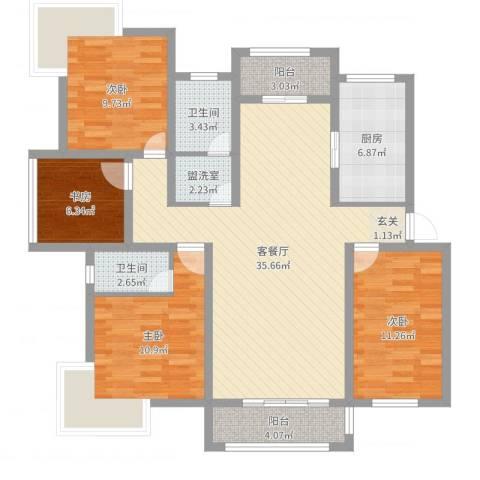 盛世嘉苑二期荷塘月舍4室4厅2卫1厨120.00㎡户型图