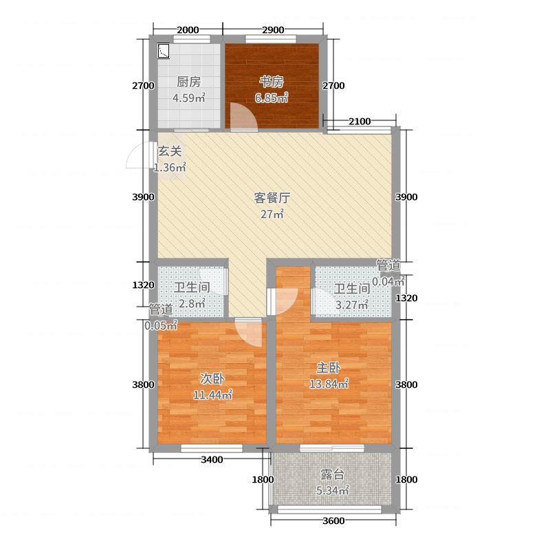 瑞丰花园95.24㎡C3户型3室3厅2卫1厨