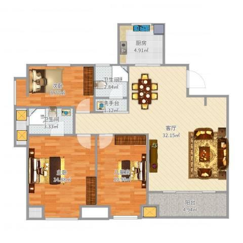 凤凰城3室1厅2卫1厨107.00㎡户型图