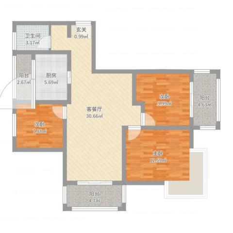 润洋壹品3室2厅1卫1厨102.00㎡户型图
