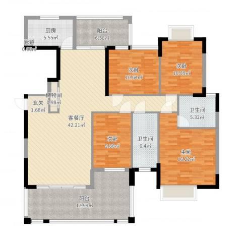 金迪星苑七期4室2厅2卫1厨165.00㎡户型图