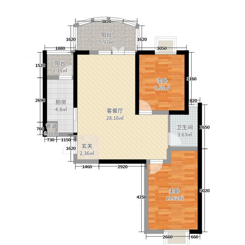 凯乐国际城85.20㎡B4户型2室2厅1卫1厨