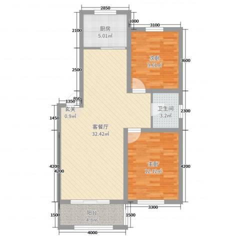 凯隆-城市广场2室2厅1卫1厨85.00㎡户型图