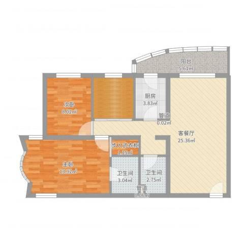 万润家园2室2厅2卫1厨86.00㎡户型图