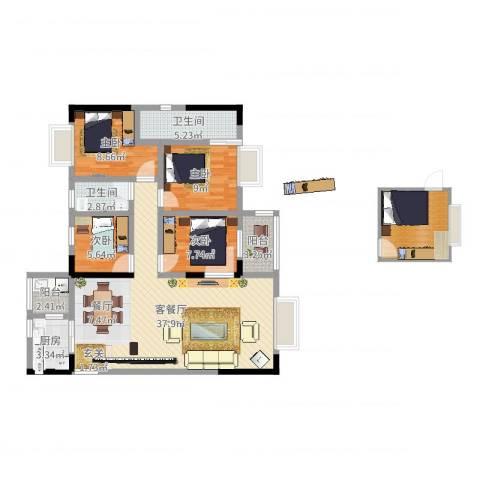 大舅百花园4室2厅2卫1厨118.00㎡户型图