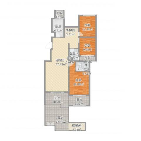 林隐天下3室2厅2卫1厨183.00㎡户型图