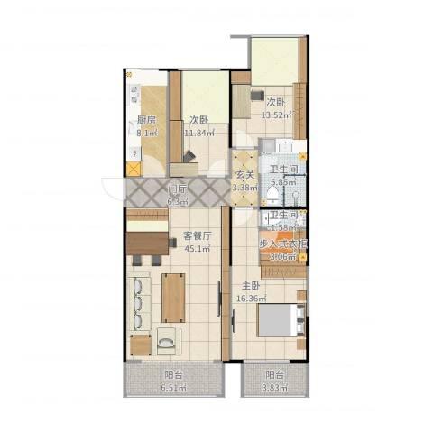 雅绅鸿居3室2厅2卫1厨137.00㎡户型图