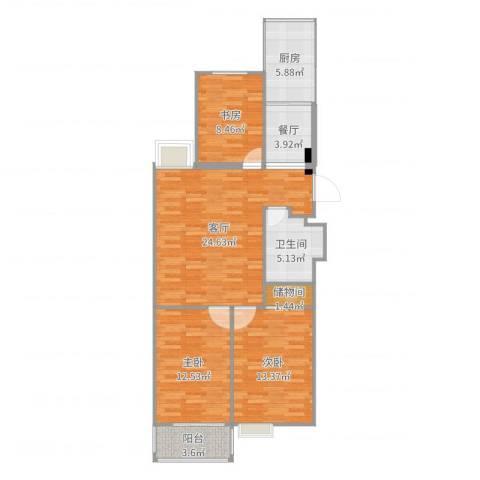 98阳光公寓3室2厅1卫1厨99.00㎡户型图