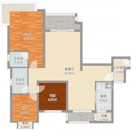 仁恒滨海半岛3室2厅2卫1厨133.00㎡户型图