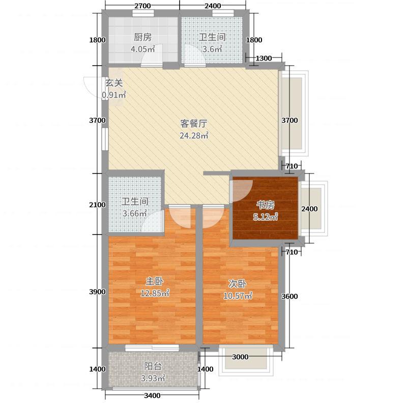 中国铁建德信君宸89.00㎡B1-2户型3室3厅2卫1厨