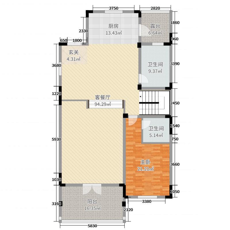 天伦庄园383.00㎡二期C2二层户型1室1厅1卫1厨