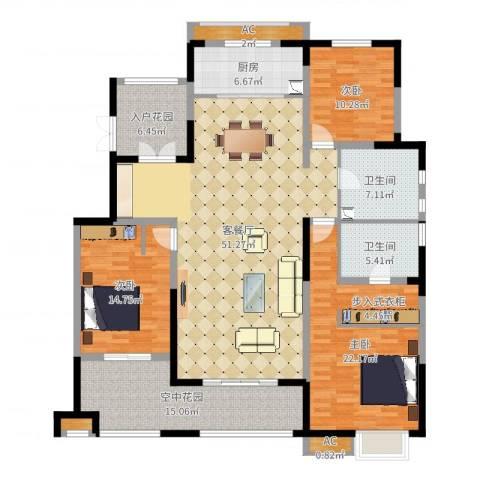 华润仰山・红叶林3室2厅2卫1厨178.00㎡户型图