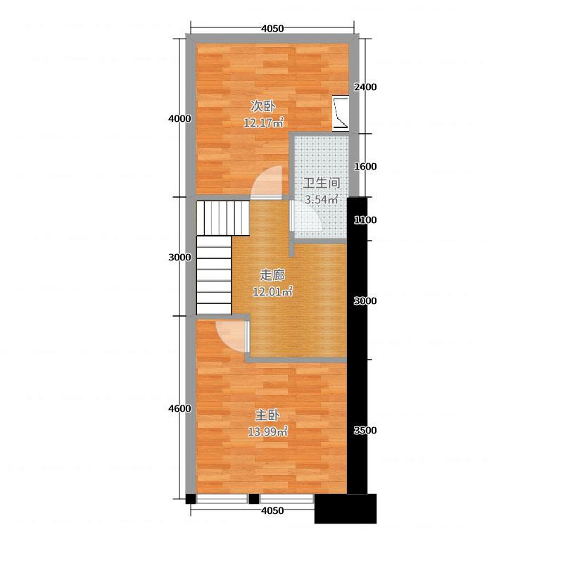 名城广场65.00㎡B-住宅二层户型2室2厅1卫