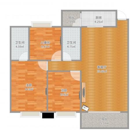 封开和富家园12幢C座7063室2厅2卫1厨114.00㎡户型图