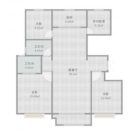 哈南万达华府C2140平米4室2厅2卫1厨129.00㎡户型图
