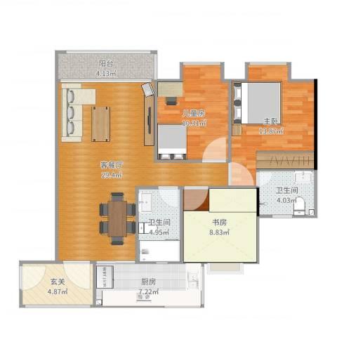芙蓉轩3室2厅2卫1厨110.00㎡户型图