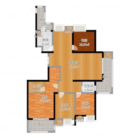 中乐江南名都4室2厅2卫1厨176.00㎡户型图