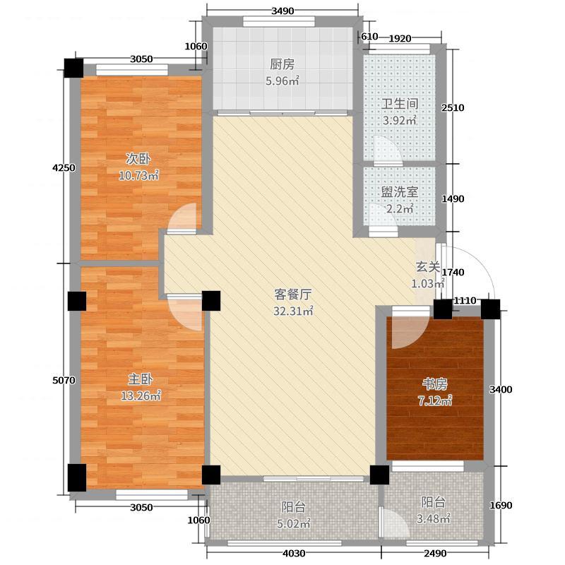 金杉・西城华府105.00㎡户型3室3厅1卫1厨