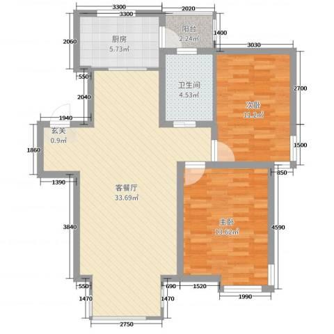 宏运凤凰新城一期2室2厅1卫1厨94.00㎡户型图