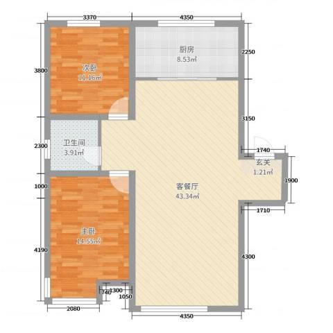 宏运凤凰新城一期2室2厅1卫1厨103.00㎡户型图