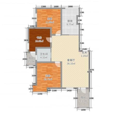 宏运凤凰新城一期3室2厅1卫1厨118.00㎡户型图