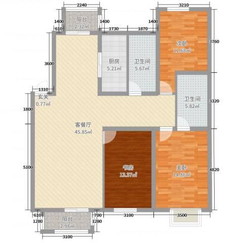 宏运凤凰新城一期3室2厅2卫1厨124.00㎡户型图
