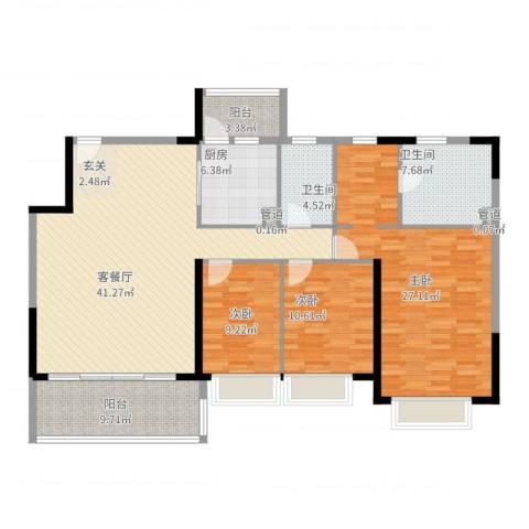 恒大绿洲3室2厅2卫1厨168.00㎡户型图