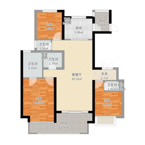 万科大明宫3室2厅4卫1厨113.00㎡户型图