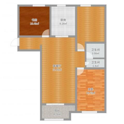 书香园2室2厅2卫1厨107.00㎡户型图