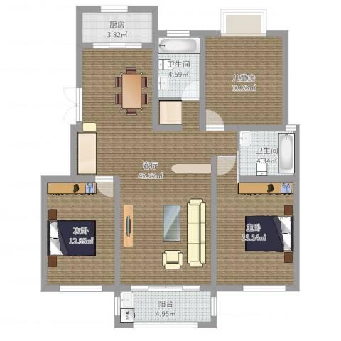 百草苑3室1厅2卫1厨125.00㎡户型图