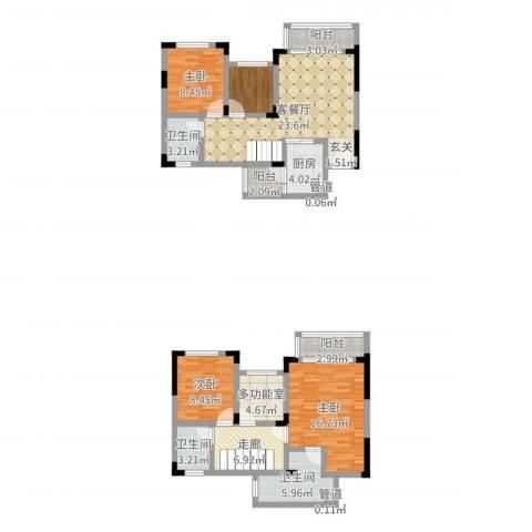 城海滨江春城一期3室2厅3卫1厨123.00㎡户型图