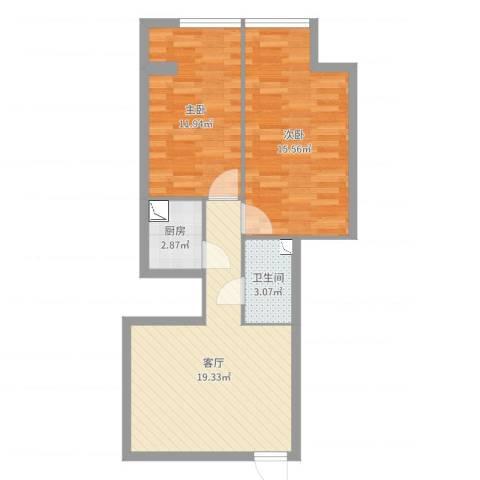 卓越浅水湾2室1厅1卫1厨66.00㎡户型图