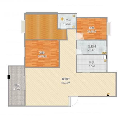 东江明珠39#1-4022室2厅2卫1厨150.00㎡户型图