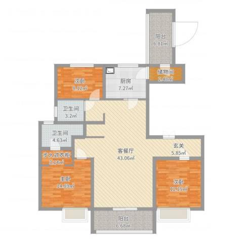 万科大明宫3室2厅2卫1厨137.00㎡户型图