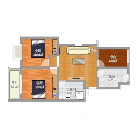 西水湾家园2室1厅1卫1厨80.00㎡户型图