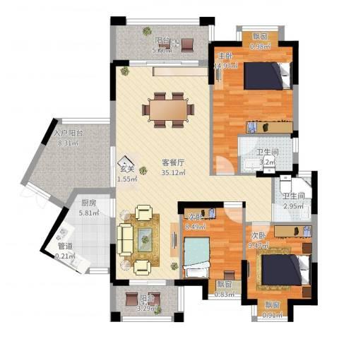 龙光海悦城邦3室2厅2卫1厨140.00㎡户型图