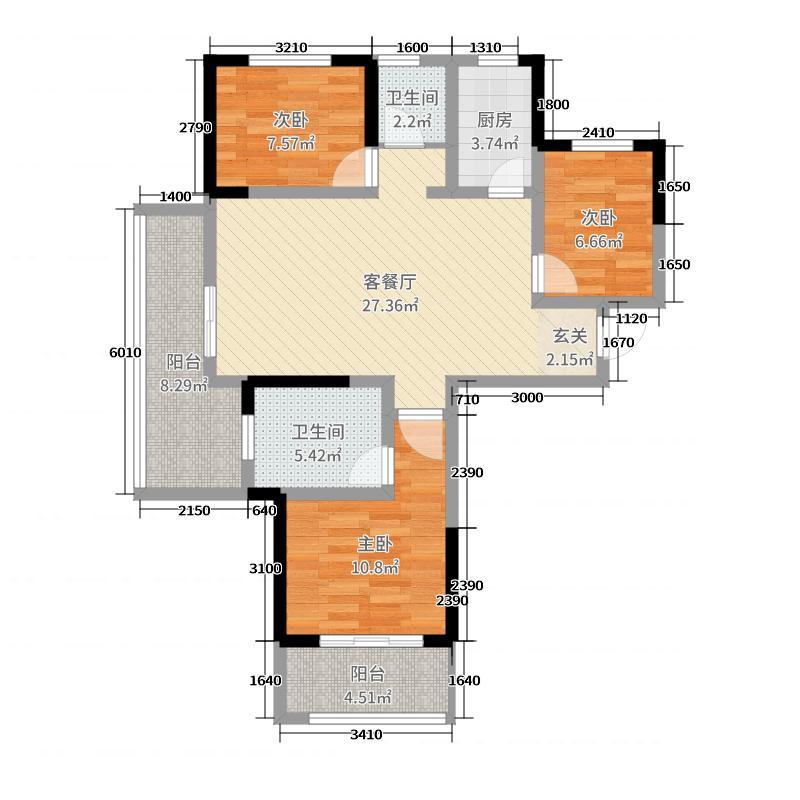 前城・紫荆庄园110.00㎡C1C4户型3室3厅2卫