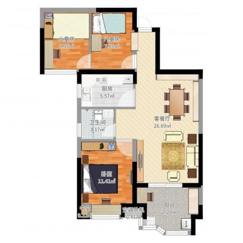 奥克斯盛世华庭2室2厅1卫1厨89.00㎡户型图