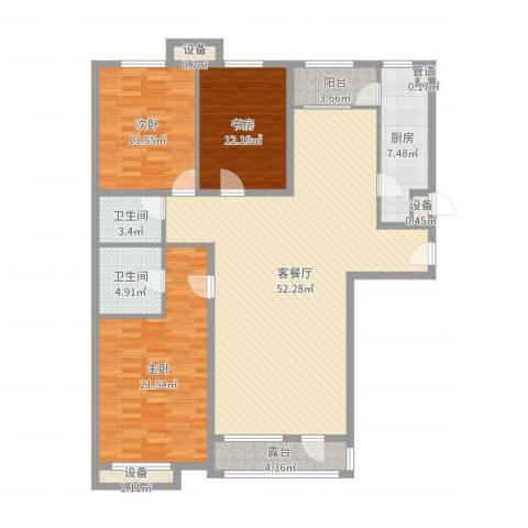 普瑞花园3室2厅2卫1厨157.00㎡户型图