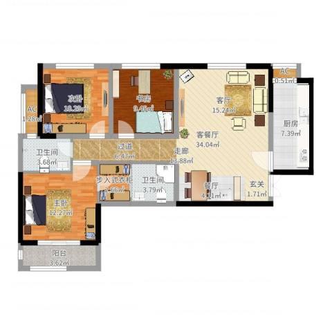 辰宇世纪城3室2厅2卫1厨111.00㎡户型图