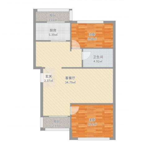 双花园南里一区2室2厅1卫1厨72.03㎡户型图
